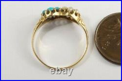 ANTIQUE VICTORIAN ENGLISH 15K GOLD DIAMOND RUBY PEARL & TURQUOISE RING c1870