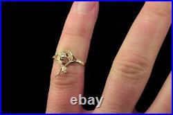 ANTIQUE VICTORIAN ENGLISH 15K GOLD DIAMOND SNAKE RING c1870