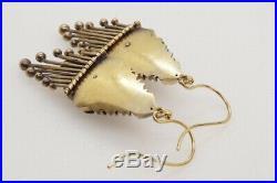 ANTIQUE VICTORIAN ENGLISH 15K GOLD ENAMEL DIAMOND FRINGE DROP EARRINGS c1870