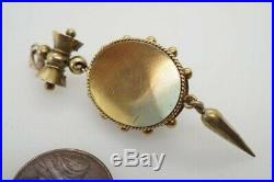 ANTIQUE VICTORIAN ENGLISH 15K GOLD ENAMEL PEARL & DIAMOND ETRUSCAN PENDANT c1870