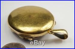 ANTIQUE VICTORIAN ENGLISH 15K GOLD ENAMEL TURQUOISE & PEARL LOCKET PENDANT c1870