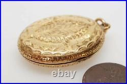 ANTIQUE VICTORIAN ENGLISH 15K GOLD ENGRAVED FERN LEAF PTERIDOMANIA LOCKET c1880