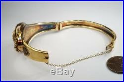 ANTIQUE VICTORIAN ENGLISH 15K GOLD ETRUSCAN REVIVAL BANGLE / BRACELET c1870