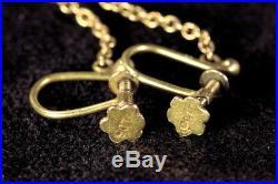 ANTIQUE VICTORIAN ENGLISH 15K GOLD GARNET GLASS TEARDROP DROP of BLOOD EARRINGS