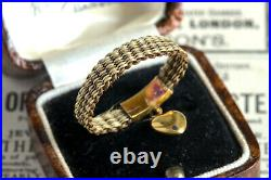 ANTIQUE VICTORIAN ENGLISH 15K GOLD HAIR MOURNING RING with TINY HEART CHARM c1850