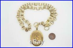 ANTIQUE VICTORIAN ENGLISH 15K GOLD HORSE SHOE LOCKET & COLLAR NECKLACE c1880