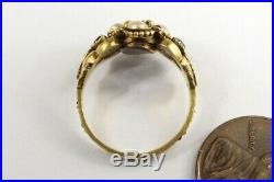 ANTIQUE VICTORIAN ENGLISH 15K GOLD PEARL EMERALD & RUBY LOCKET RING c1850