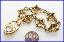 ANTIQUE VICTORIAN ENGLISH 15K GOLD TURQUOISE BRACELET & HEART PADLOCK c1870