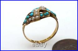 ANTIQUE VICTORIAN ENGLISH 15K GOLD TURQUOISE & PEARL KNOT RING c1872