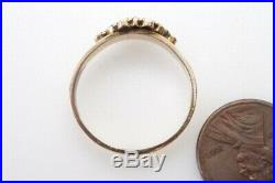 ANTIQUE VICTORIAN ENGLISH 18K GOLD ALMANDINE GARNET & PEARL RING c1870