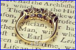 ANTIQUE VICTORIAN ENGLISH 18K GOLD BLUE & WHITE SAPPHIRE RING BOXED c1891