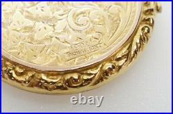 ANTIQUE VICTORIAN ENGLISH 9K GOLD B&F ENGRAVED CIRCULAR PHOTO LOCKET c1880