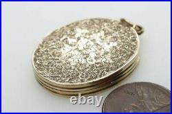 ANTIQUE VICTORIAN ENGLISH 9K GOLD B&F ENGRAVED MOURNING LOCKET PENDANT c1860