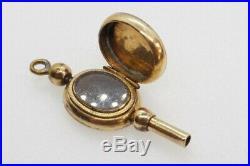 ANTIQUE VICTORIAN ENGLISH 9K GOLD B&F OPENING LOCKET WATCH KEY FOB / CHARM c1860