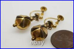ANTIQUE VICTORIAN ENGLISH 9K GOLD CASED FACETED ORB DROP EARRINGS c1890