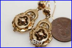 ANTIQUE VICTORIAN ENGLISH 9K GOLD SEAMED ORNATE FACETED DROP EARRINGS c1880
