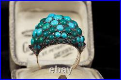 ANTIQUE VICTORIAN ENGLISH 9K GOLD SILVER TURQUOISE BOMBE RING c1890