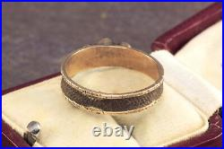 ANTIQUE VICTORIAN ENGLISH 9K GOLD TURQUOISE HAIR MOURNING BAND RING c1860