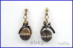 ANTIQUE VICTORIAN ENGLISH GOLD ENAMEL DIAMOND CARVED BANDED AGATE EARRINGS c1880