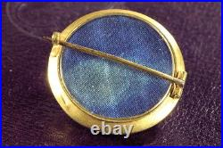 ANTIQUE VICTORIAN ENGLISH NEO-ETRUSCAN 15K GOLD ROCK CRYSTAL BROOCH PIN c1870