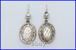ANTIQUE VICTORIAN ENGLISH SILVER DROP EARRINGS c1880