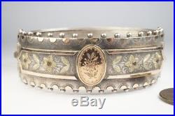 ANTIQUE VICTORIAN ENGLISH STERLING SILVER & GOLD FLORAL BANGLE / BRACELET c1885