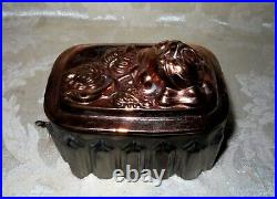 Antique 1800's English Victorian Copper Jelly Mold in a Rose Design 5 3/8