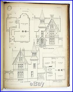 Antique 1873 DETAIL COTTAGE CONSTRUCTIVE ARCHITECTURE Victorian House Plans Home