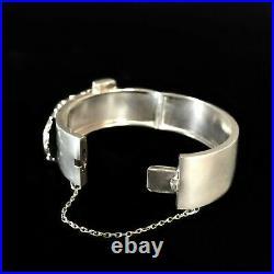 Antique 1880s English Victorian Sterling Silver Buckle Bangle Bracelet