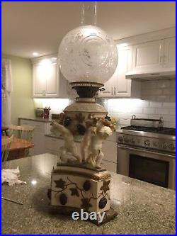 Antique (1895-1905) English Victorian Porcelain Oil Lamp By The Moore Brothers