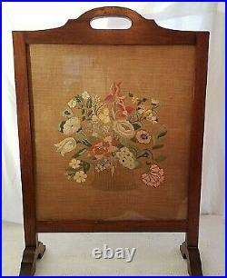 Antique 1900's English Floral Needlepoint Embroidery Wooden Fireplace Screen