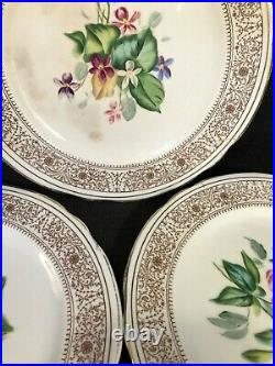 Antique 19th Century English Ceramic Floral Dessert Service 11 Plates 4 Comports