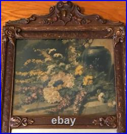 Antique 19th c English Trumeau Mirror Carved Wood OIL Painted Floral 31X12