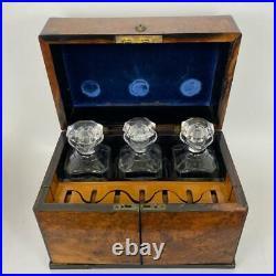 Antique 19thC English Victorian Burlwood Tantalus Casket Box + Crystal Decanters