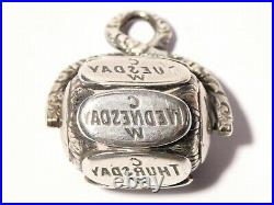 Antique 19thC Silver Spinner Wax Seal Fob English 7 Days of The Week CW #T279