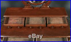Antique Anglo-Indian Victorian Colonial Teak Dressing Table Desk with Mirror