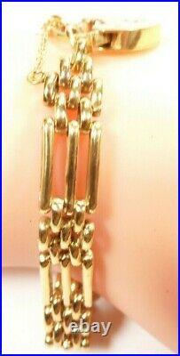 Antique Art Deco Victorian 9KT Yellow Gold Gate Bracelet English 7.5 Inches Fine