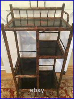 Antique BAMBOO English Victorian Etagere Stand Painted Lacquer Shelves