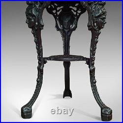 Antique Britannia Table, English, Cast Iron, Beech, Outdoor, Garden, Circa 1900