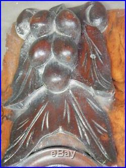 Antique British Architectural Fragment Carved Burl Wood FRUIT Mirror 1840 GRAPES