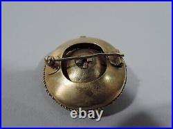 Antique Brooch Victorian Etruscan Pin Jewelry English 18K Gold & Garnet