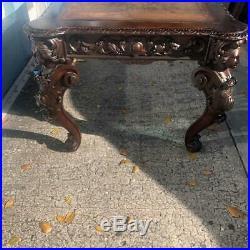 Antique Carved Oak English Partners Desk