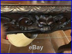 Antique Carved Oak English Partners Desk Leather Insert and Pair of Chairs
