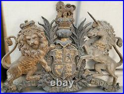 Antique Cast Iron Sign British Royal Coat of Arms 19th century English Victorian