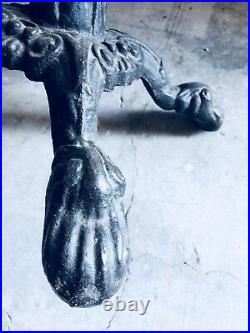 Antique Cast Iron Victorian Ornate Crackle Top Pub Bistro Table late 19th Cent