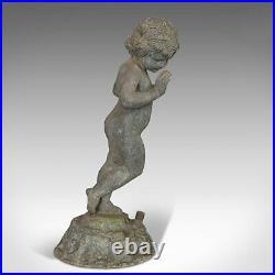 Antique Cherub, English, Lead, Putto, Statue, Ornamental Garden, Victorian, 1900