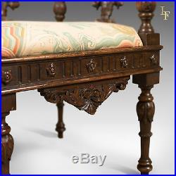 Antique Corner Armchair, Carved Victorian Arm Chair, English Walnut c. 1870