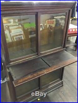 Antique DANNER Stacking Bookcase TIGER OAK Display Liquor Cabinet Glass c1880