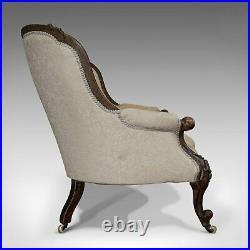 Antique Double Spoonback Sofa, English, Walnut, Camel Back, Victorian, 1850