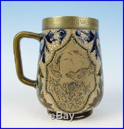 Antique Doulton Lambeth Stoneware 1881 Trophy Tankard English Pottery Bird Royal